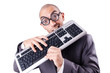 Nerd businessman with computer keyboard on white