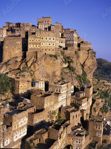 View on Hajjarrah,Yemen, at sunset