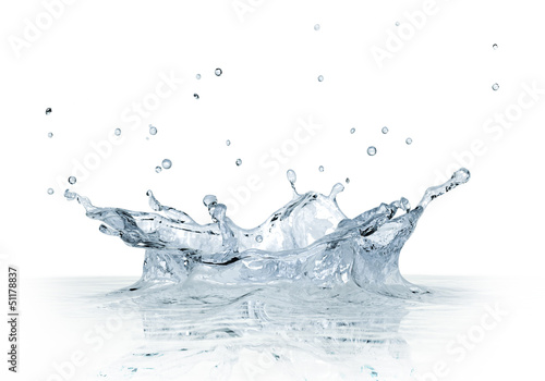 Splash water isolated on white background.
