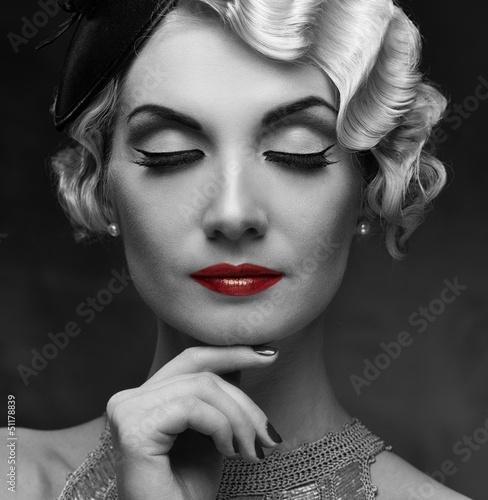 Elegant blond retro woman