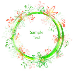 Red green floral frame