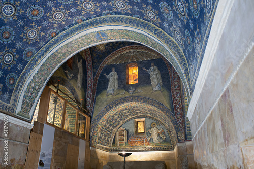 Inside of Mausoleum of Galla Placidia, Ravenna, Italy
