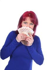 Glückliche Frau mit Geldscheinen - woman with money