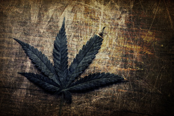 Vintage grunge cannabis leaf