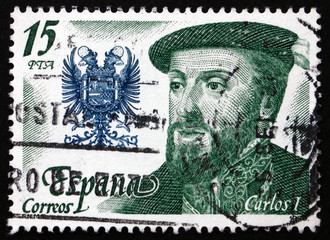 Postage stamp Spain 1979 Carlos I and Coat of Arms