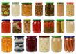 Collage von Gemüse in Gläsern