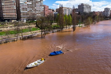 Pisuerga river in Valladolid about to overflow