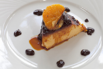 tangerine flan with chocolate