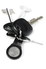 Bunch of keys on white