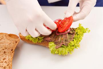 Chef making sandwiches