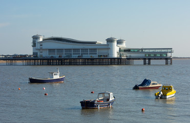 Boats and Pier Weston-super-Mare bay Somerset