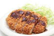 Japanese pork cutlet on white background
