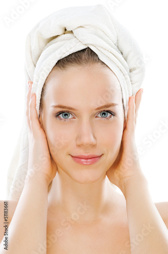Beauty with towel isolated on white