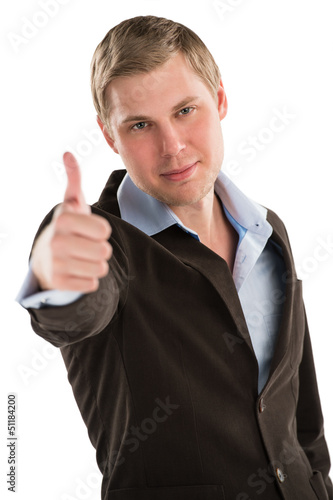 A young executive giving you a thumbs up while isolated on a whi