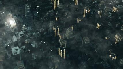 Metropolis - aerial 3D render