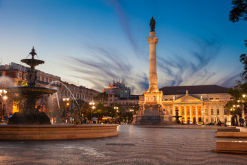 Rossio square at dusk. The National Theatre in the back. Lisbon