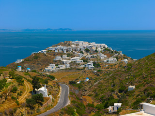 Greece Sifnos,Colorful sea view on the island panoramic