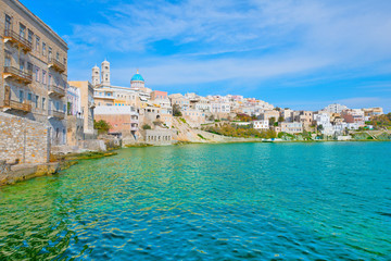 Greece Siros Syros Island, Main capitol wide view