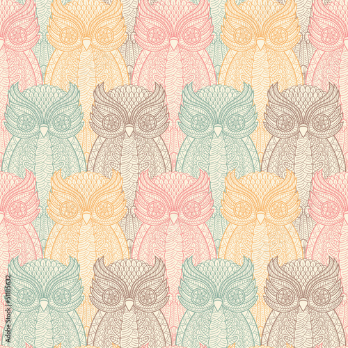 Owls seamless pattern