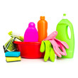 cleaning supplies and gloves