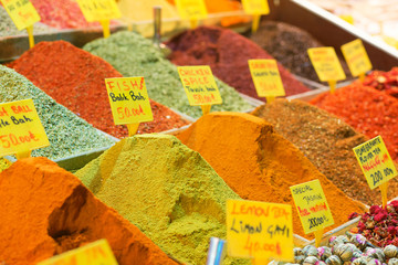 Spices on the spice market of Istanbul