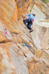 Woman Climbing in Greek mountain
