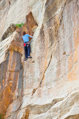 Woman Climbing in Greek mountain