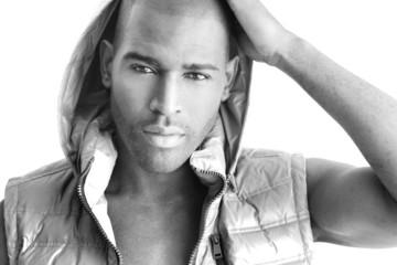Detailed fashion portrait of a beautiful black male model