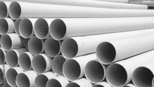 PVC pipes stacked in construction site ,aspect ratio 16:9