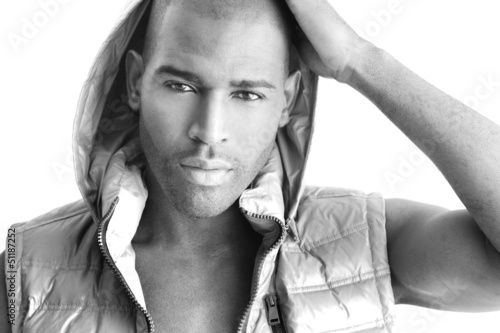 Detailed fashion portrait of a beautiful black male model