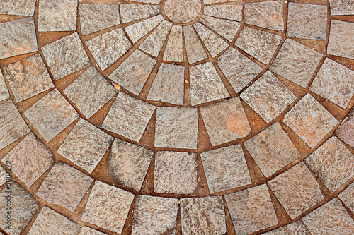 abstract decorative brick patterned patio