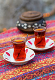 Black Turkish tea in traditional glasses