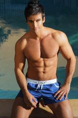 Sexy man at pool