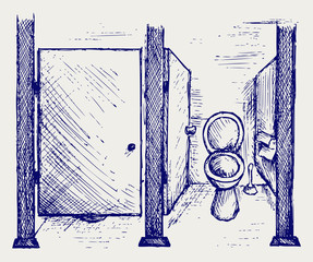 Public Toilet. Doodle style