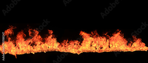 Flames over black background