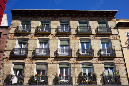 Old Apartment Building Facade in Madrid
