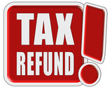 !-Schild rot quad TAX REFUND