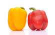 sweet yellow and red peppers isolated on white background