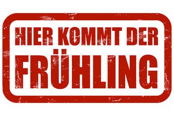 Grunge Stempel rot HIER KOMMT DER FRÜHLING