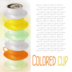 Colored cup with coffee on white background