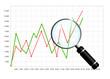 Leinwandbild Motiv Business chart with magnifying glass isolated over white