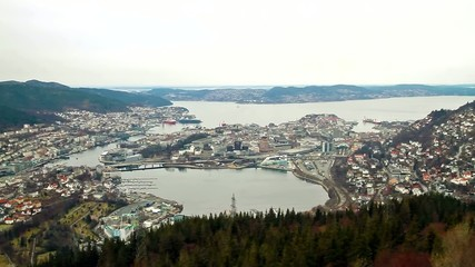 View from the cabin funicular. Bergen, Norway