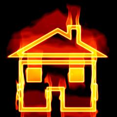 Hausform mit Flammen