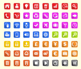 Icons web, media, business and office