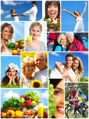 Happy people collage.