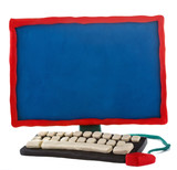 Plasticine handmade computer on a white background