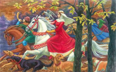 Средневековая королевская охота. Живопись, акрил.