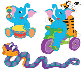 Pretty cute cartoon animals: two elephants, tiger and boa