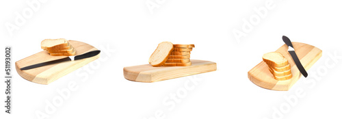 Set of sliced ​​loaf on board