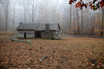 Old log cabin in the woods with morning fog